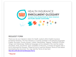 Action for Health Justice Health Enrollment Glossary
