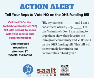 Take Action: Tell Your Reps to Vote NO on the DHS Funding Bill