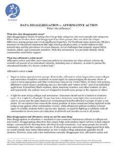 Data Disaggregation Versus Affirmative Action