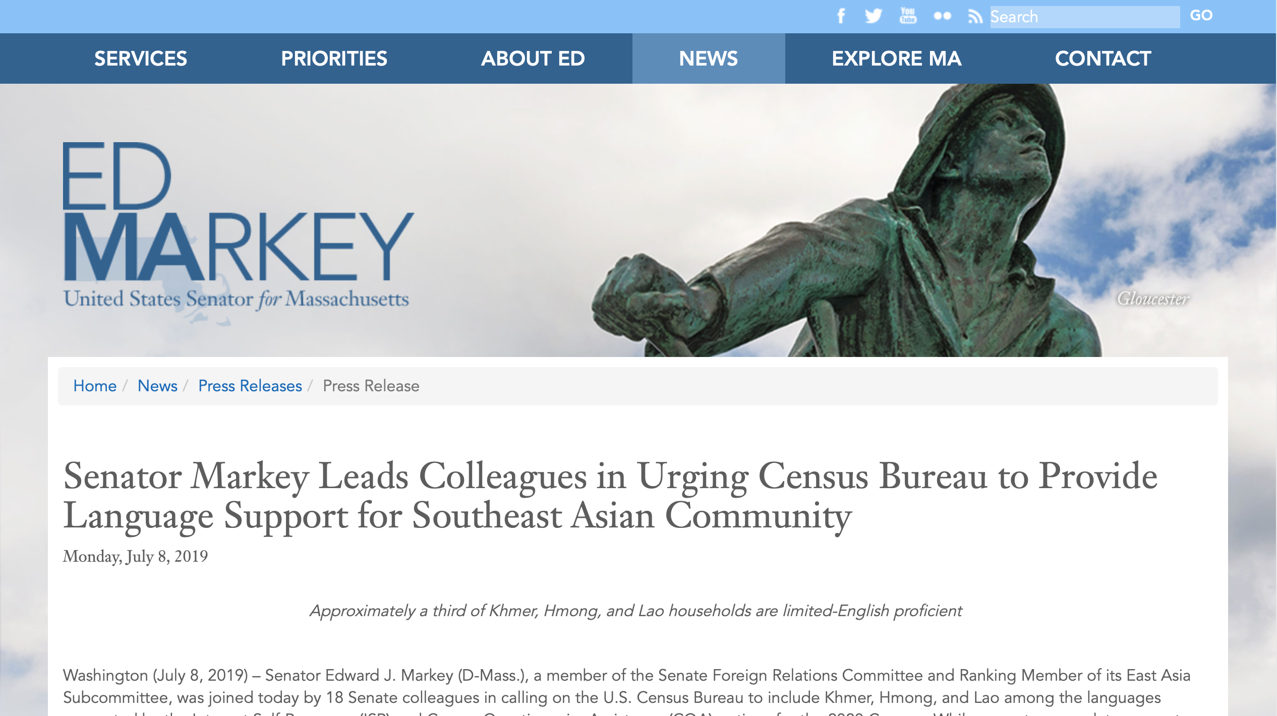 SEARAC Senator Markey's Census Translation Statement Quotes SEARAC