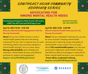 Join us for a virtual workshop series on the mental health needs of Southeast Asian Americans in Butte County, CA